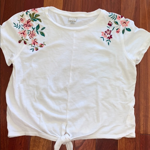 Target Tops - White Embroidered Tie Front Top